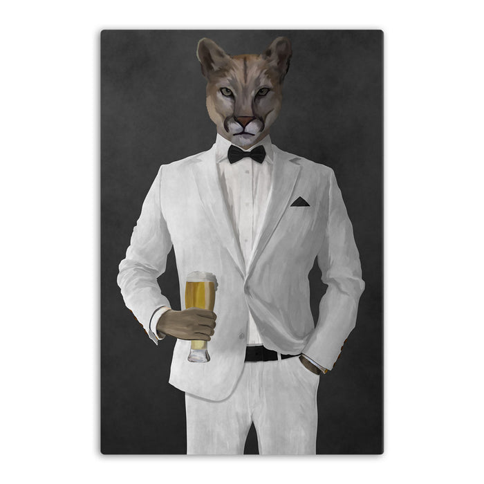 Cougar Drinking Beer Wall Art - White Suit