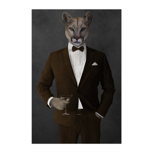 Cougar Drinking Martini Wall Art - Brown Suit
