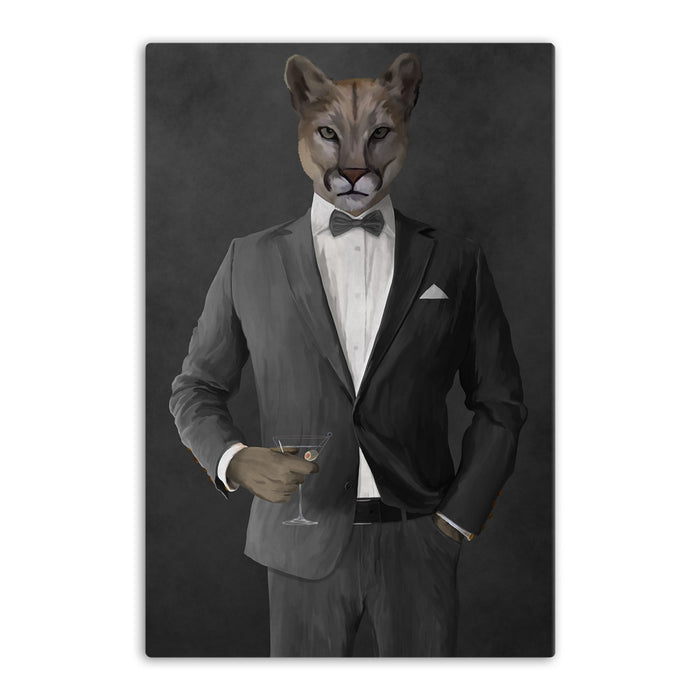Cougar Drinking Martini Wall Art - Gray Suit