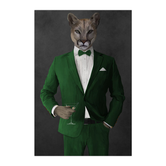 Cougar Drinking Martini Wall Art - Green Suit