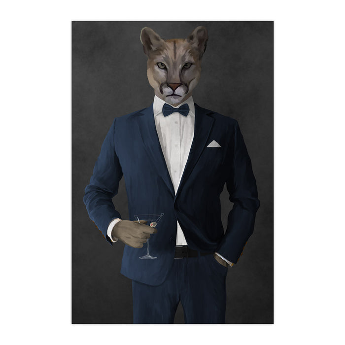 Cougar Drinking Martini Wall Art - Navy Suit
