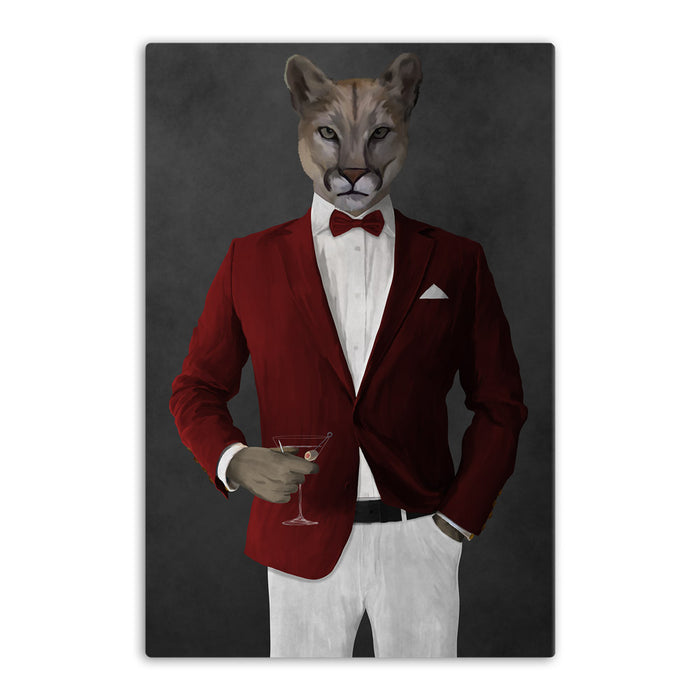 Cougar Drinking Martini Wall Art - Red and White Suit