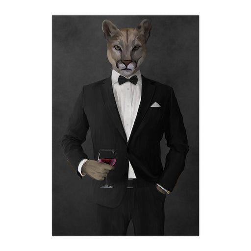 Cougar Drinking Red Wine Wall Art - Black Suit