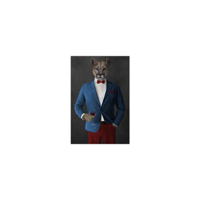 Cougar Drinking Red Wine Wall Art - Blue and Red Suit