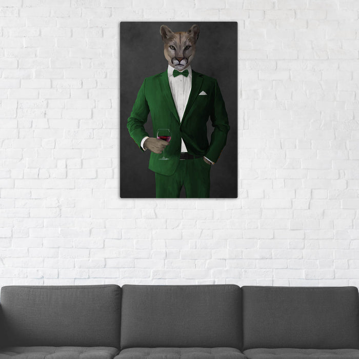 Cougar Drinking Red Wine Wall Art - Green Suit