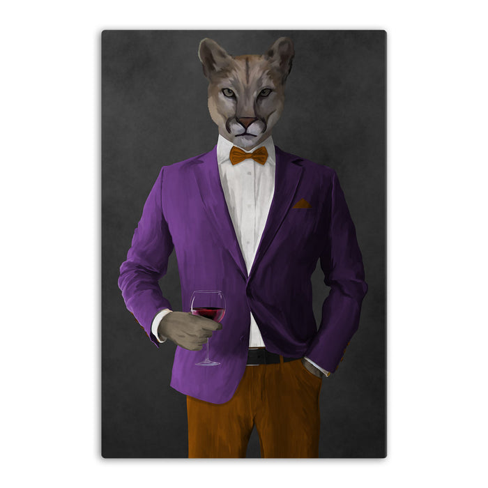 Cougar Drinking Red Wine Wall Art - Purple and Orange Suit