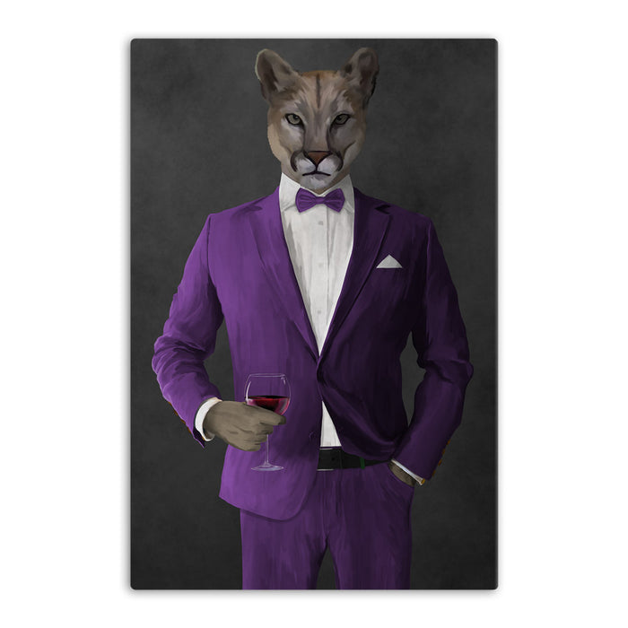 Cougar Drinking Red Wine Wall Art - Purple Suit
