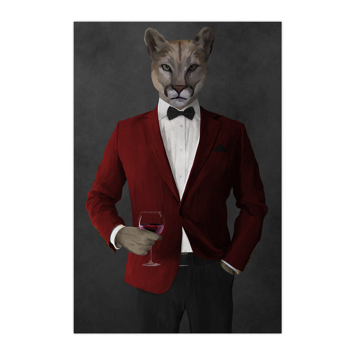Cougar Drinking Red Wine Wall Art - Red and Black Suit
