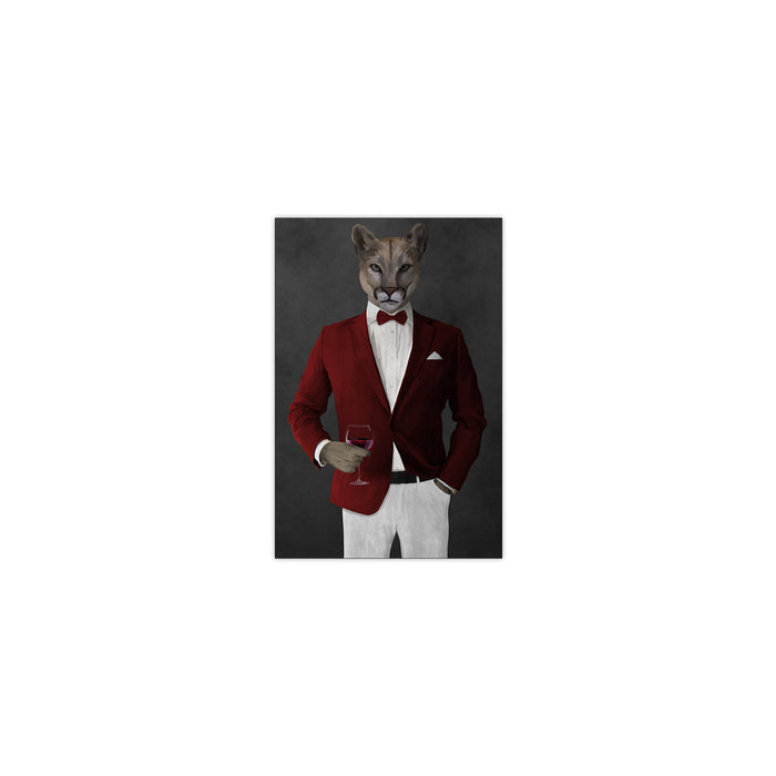 Cougar Drinking Red Wine Wall Art - Red and White Suit