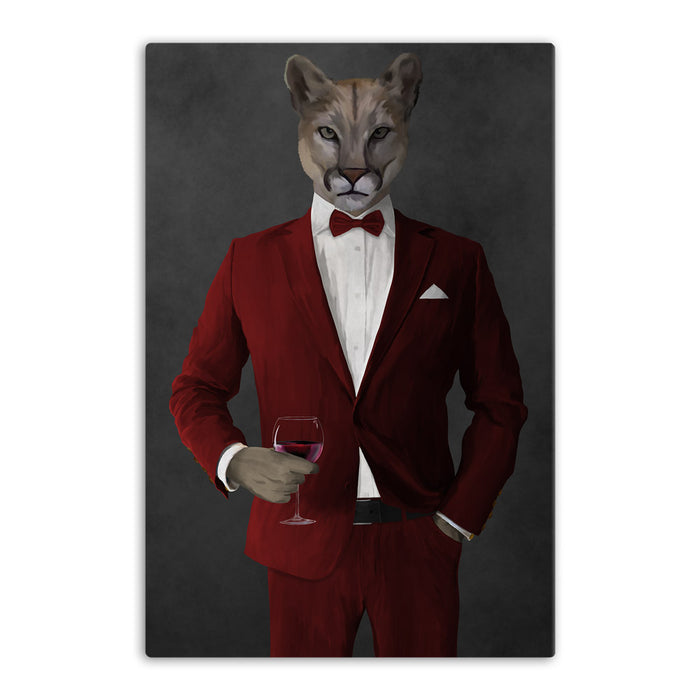 Cougar Drinking Red Wine Wall Art - Red Suit