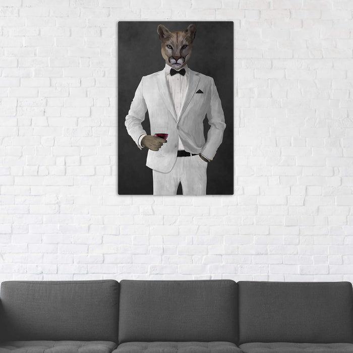 Cougar Drinking Red Wine Wall Art - White Suit