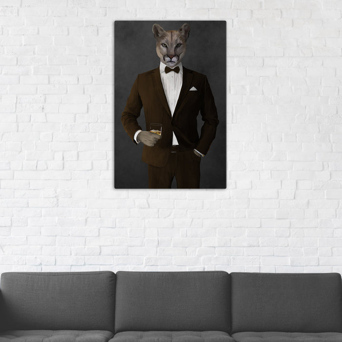 Cougar Drinking Whiskey Wall Art - Brown Suit