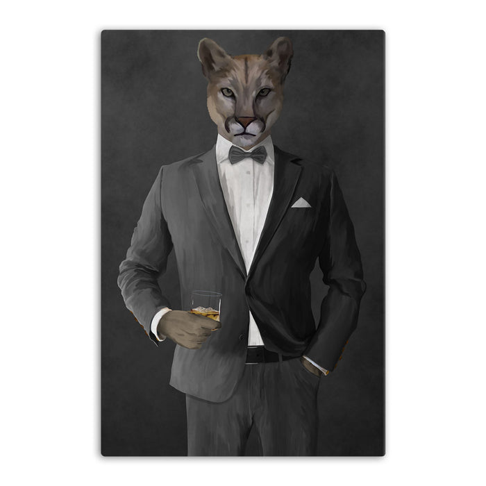Cougar Drinking Whiskey Wall Art - Gray Suit