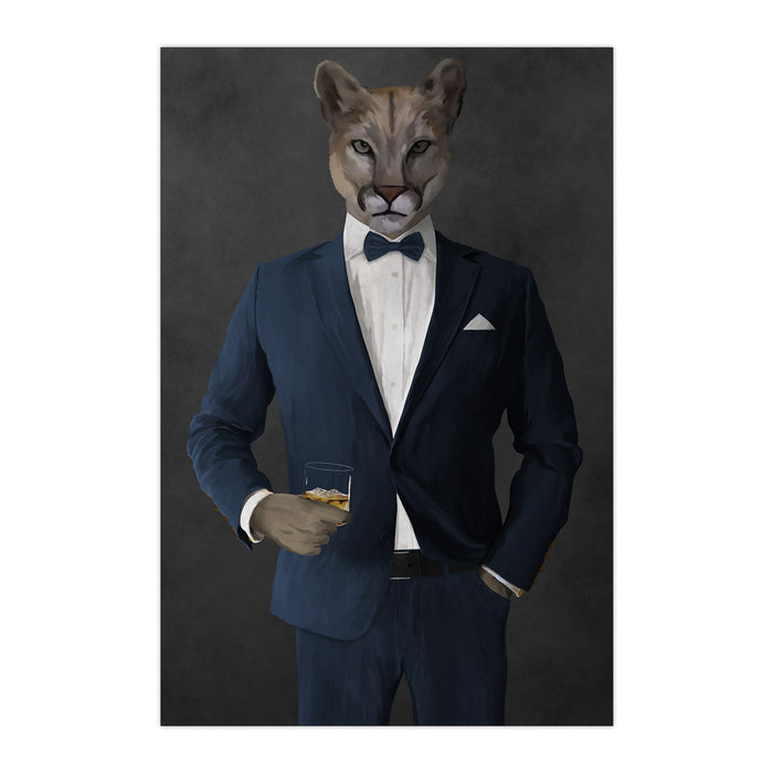 Cougar Drinking Whiskey Wall Art - Navy Suit