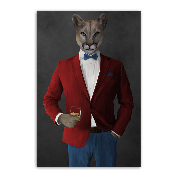 Cougar Drinking Whiskey Wall Art - Red and Blue Suit