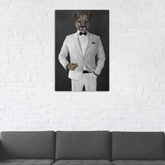 Cougar Drinking Whiskey Wall Art - White Suit