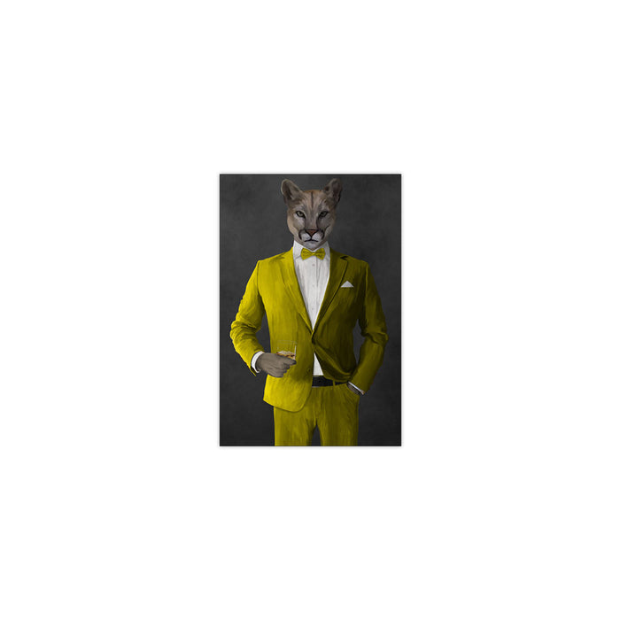 Cougar Drinking Whiskey Wall Art - Yellow Suit