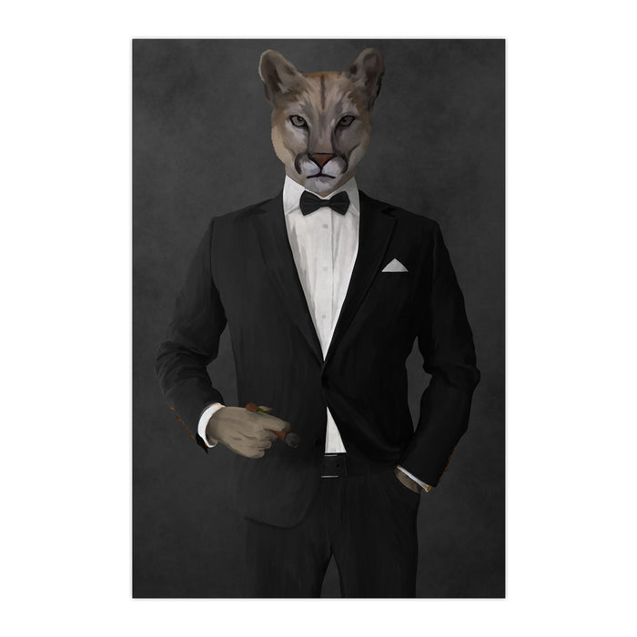Cougar Smoking Cigar Wall Art - Black Suit