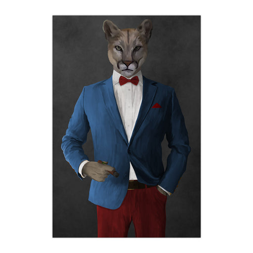 Cougar Smoking Cigar Wall Art - Blue and Red Suit