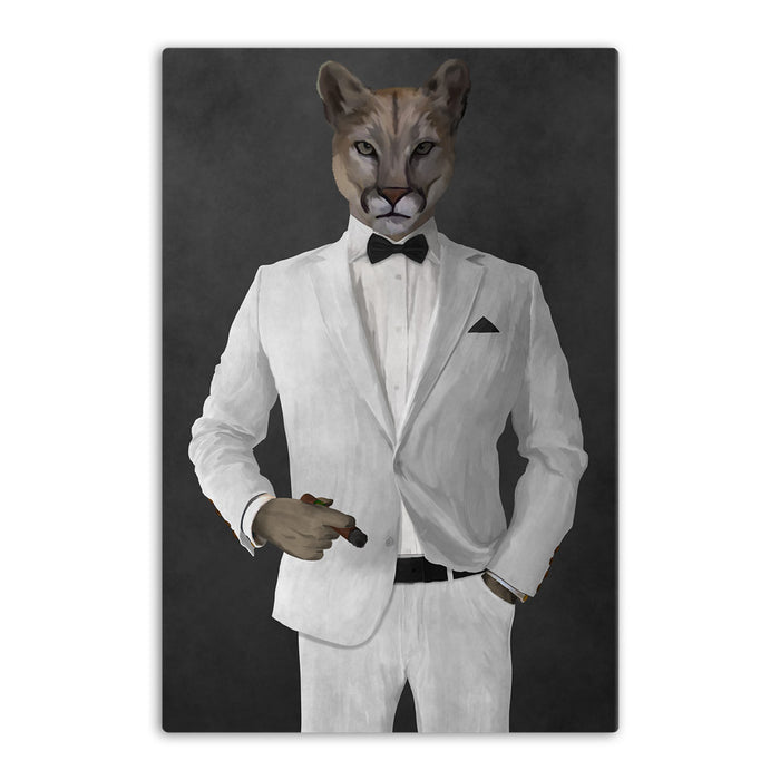Cougar Smoking Cigar Wall Art - White Suit