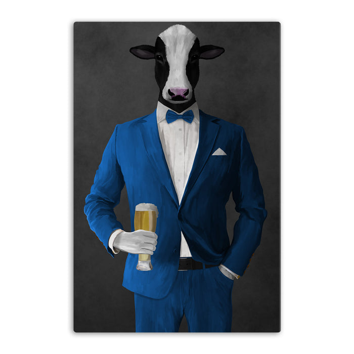 Cow Drinking Beer Wall Art - Blue Suit