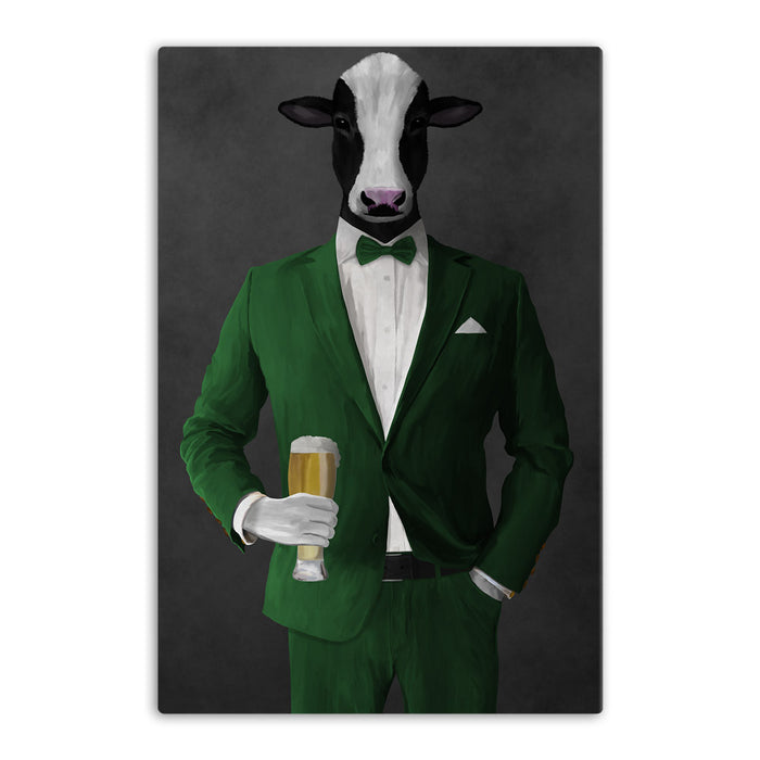Cow Drinking Beer Wall Art - Green Suit