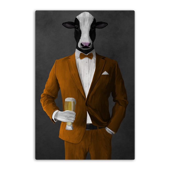 Cow Drinking Beer Wall Art - Orange Suit