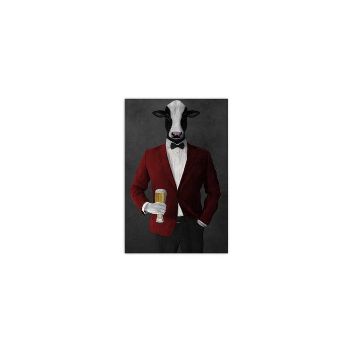 Cow Drinking Beer Wall Art - Red and Black Suit