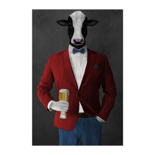 Cow Drinking Beer Wall Art - Red and Blue Suit