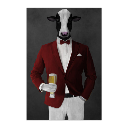 Cow Drinking Beer Wall Art - Red and White Suit