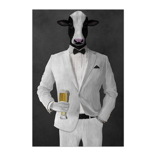 Cow Drinking Beer Wall Art - White Suit