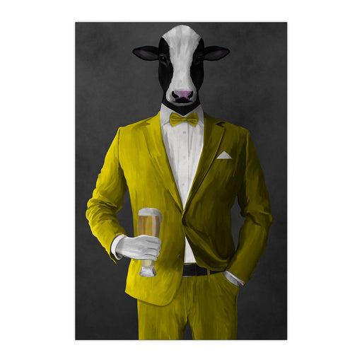 Cow Drinking Beer Wall Art - Yellow Suit