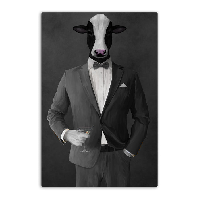 Cow Drinking Martini Wall Art - Gray Suit