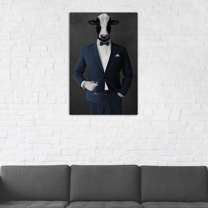Cow Drinking Martini Wall Art - Navy Suit