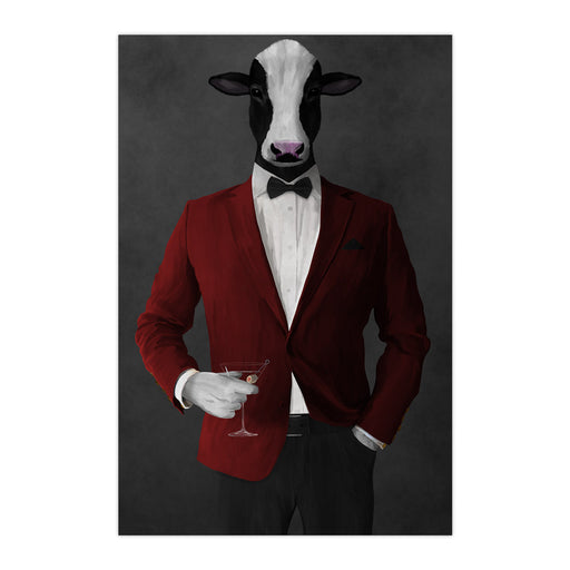 Cow Drinking Martini Wall Art - Red and Black Suit