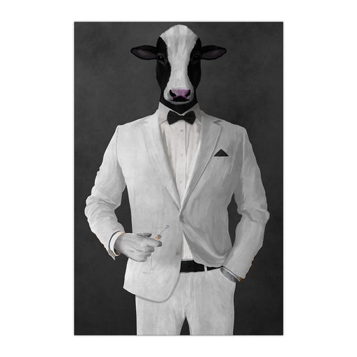 Cow Drinking Martini Wall Art - White Suit