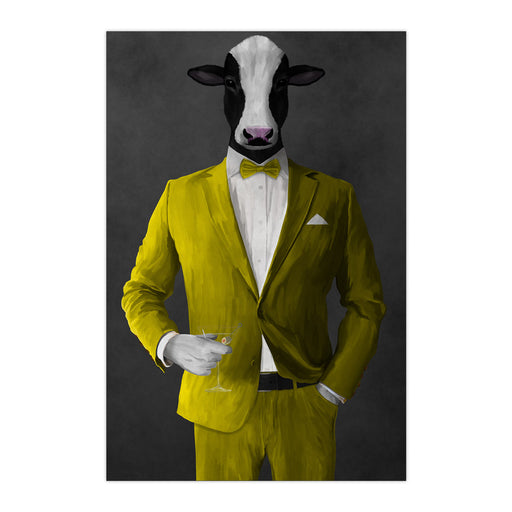 Cow Drinking Martini Wall Art - Yellow Suit
