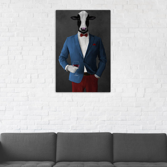 Cow Drinking Red Wine Wall Art - Blue and Red Suit