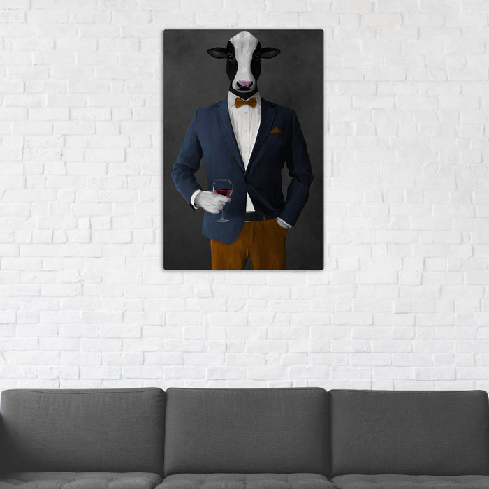 Cow Drinking Red Wine Wall Art - Navy and Orange Suit