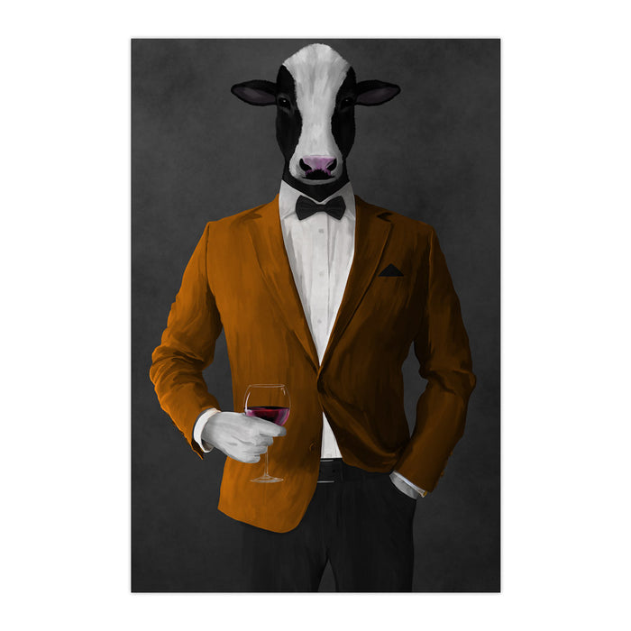 Cow Drinking Red Wine Wall Art - Orange and Black Suit