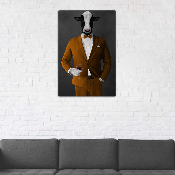 Cow Drinking Red Wine Wall Art - Orange Suit