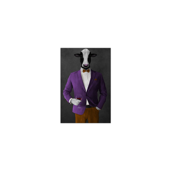 Cow Drinking Red Wine Wall Art - Purple and Orange Suit