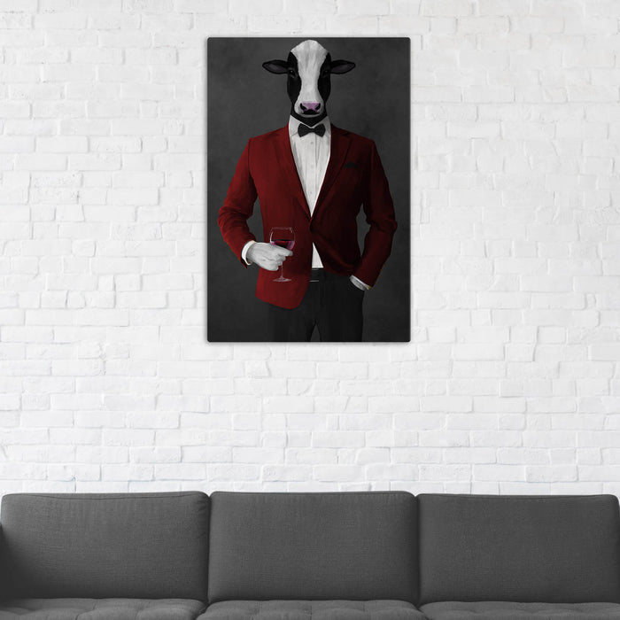 Cow Drinking Red Wine Wall Art - Red and Black Suit