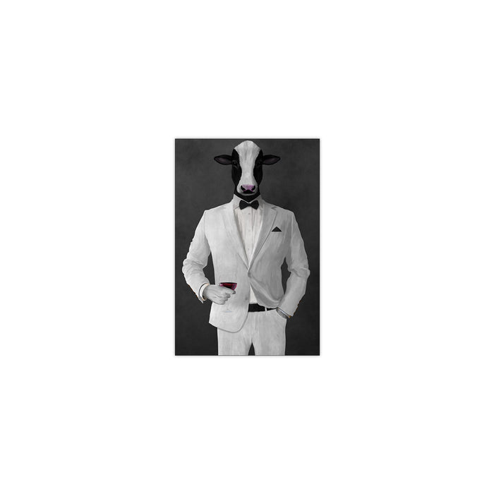 Cow Drinking Red Wine Wall Art - White Suit