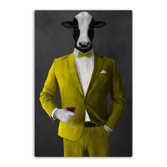 Cow Drinking Red Wine Wall Art - Yellow Suit