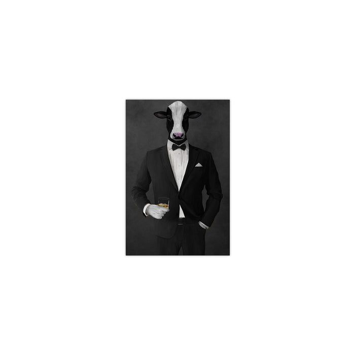 Cow Drinking Whiskey Wall Art - Black Suit