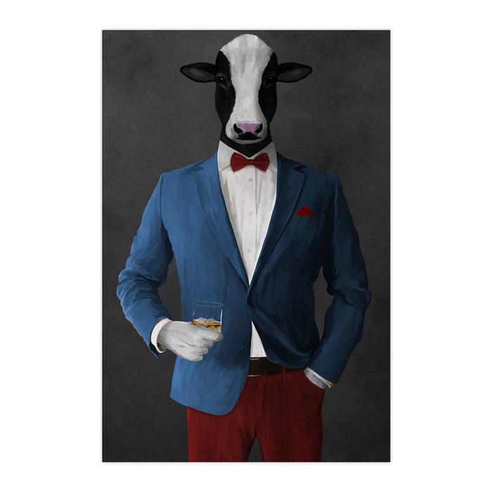Cow Drinking Whiskey Wall Art - Blue and Red Suit