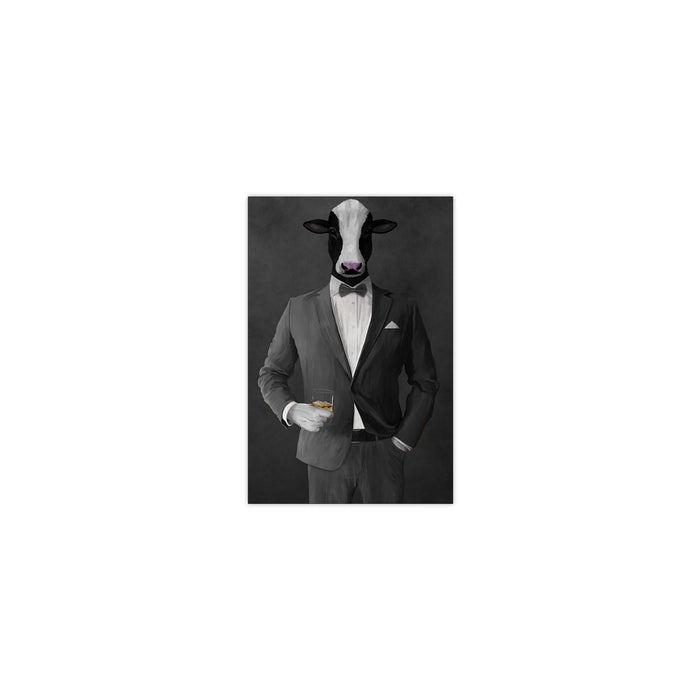 Cow Drinking Whiskey Wall Art - Gray Suit