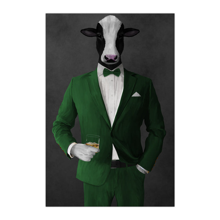 Cow Drinking Whiskey Wall Art - Green Suit