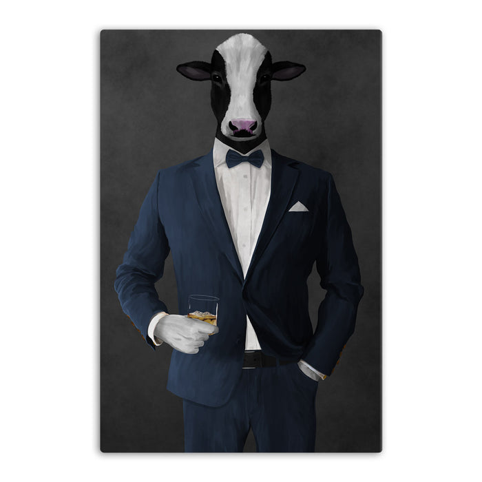 Cow Drinking Whiskey Wall Art - Navy Suit